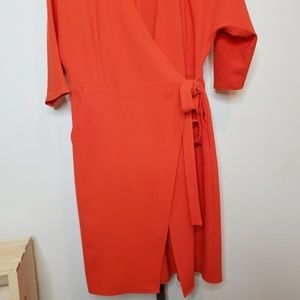 Topshop Dresses - Topshop Dolman Sleeve Wrap Midi Dress in Tomato
